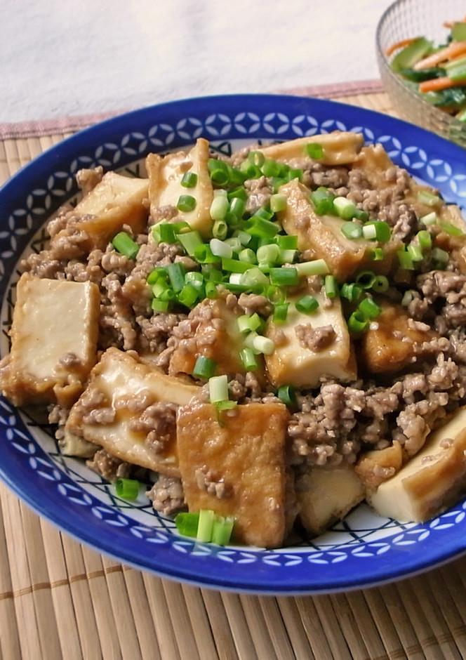 ご飯がすすむ 厚揚げと豚ひき肉炒め