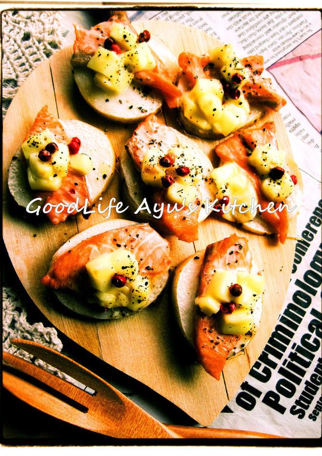 長芋とサーモンのチーズグリル