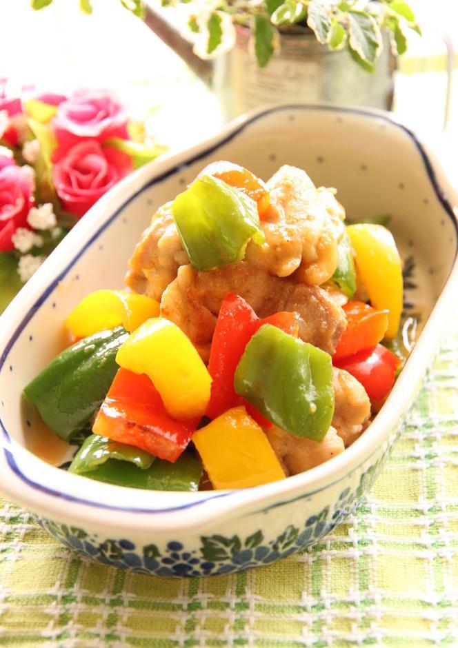 鶏もも肉と彩野菜のわさびバター醤油
