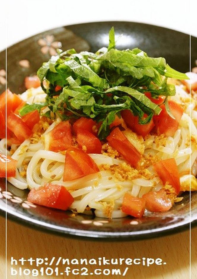 トマトと大葉の冷製サラダうどん