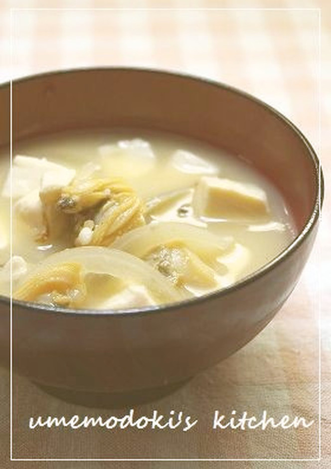 アサリのむき身と玉葱の味噌汁