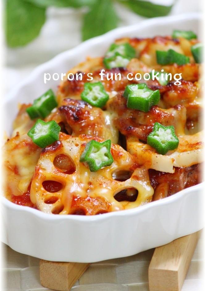 鶏肉 蓮根と長芋のピリ辛チーズ焼き