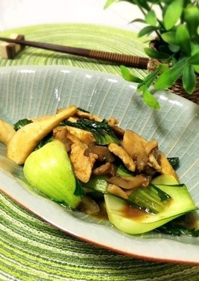 青梗菜とエリンギのカレー風味炒め