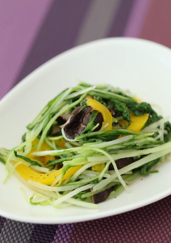 水菜とひらたけのささっとシンプル炒め