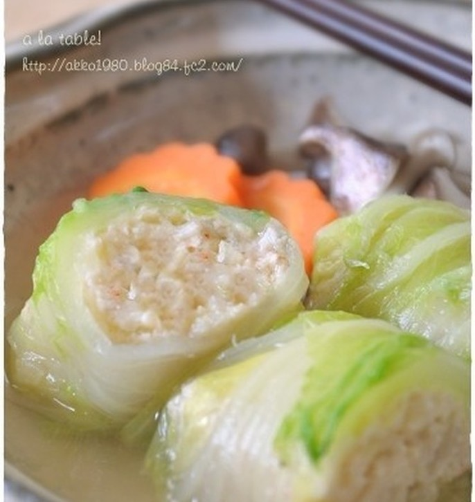 海老とはんぺんのふわふわロール白菜