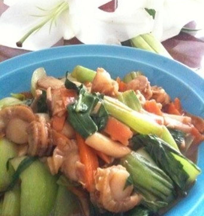 ちんげん菜とほたて 野菜炒め