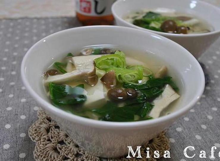 きのこと豆腐のあんかけスープ