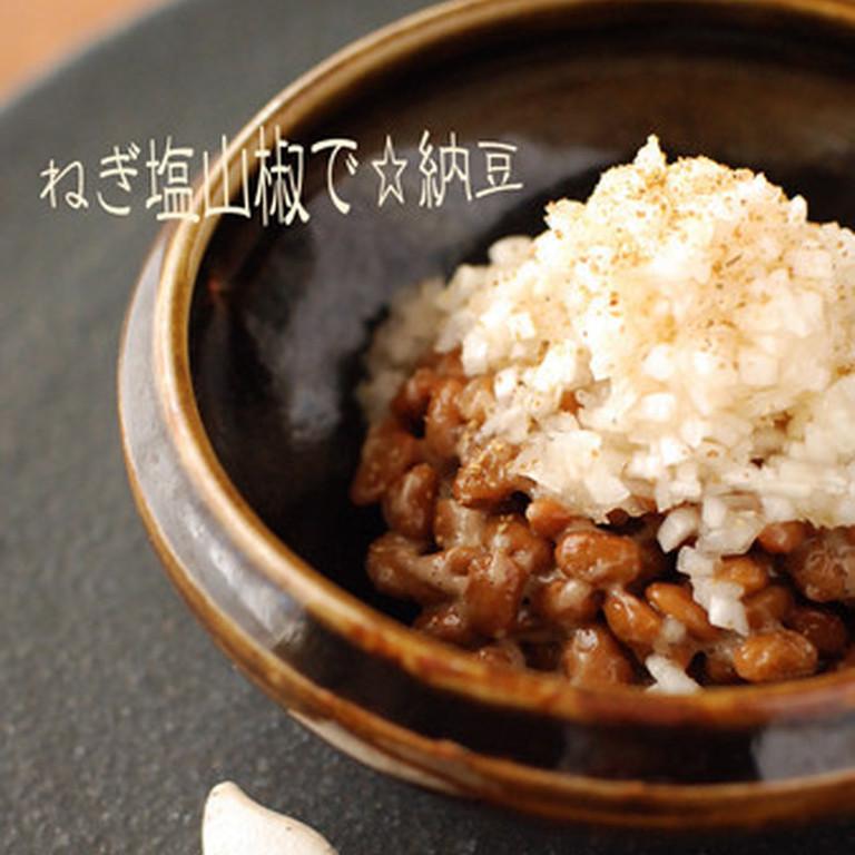 ねぎ塩山椒で食べる納豆