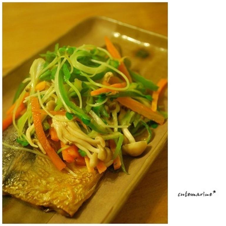 塩さばの野菜と一緒に蒸し焼き