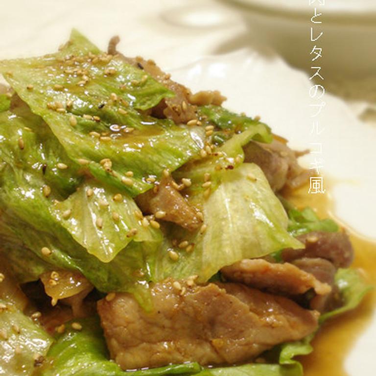 豚肉とレタスのプルコギ風炒め