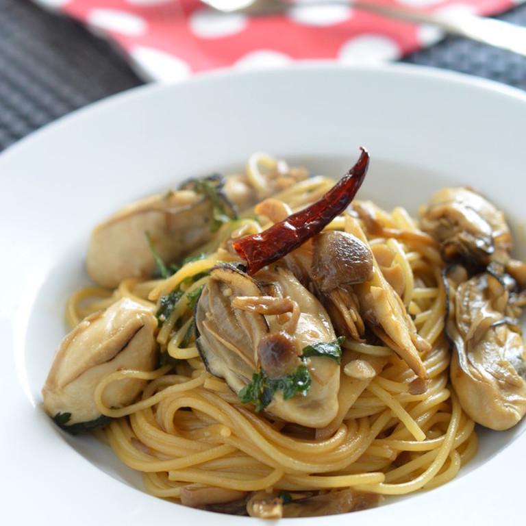 簡単 牡蠣ときのこのスパゲティ