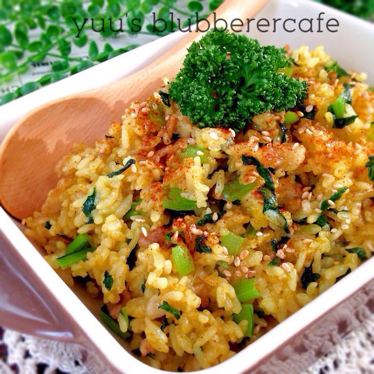小松菜&豚バラ肉のスタミナカレー炒飯