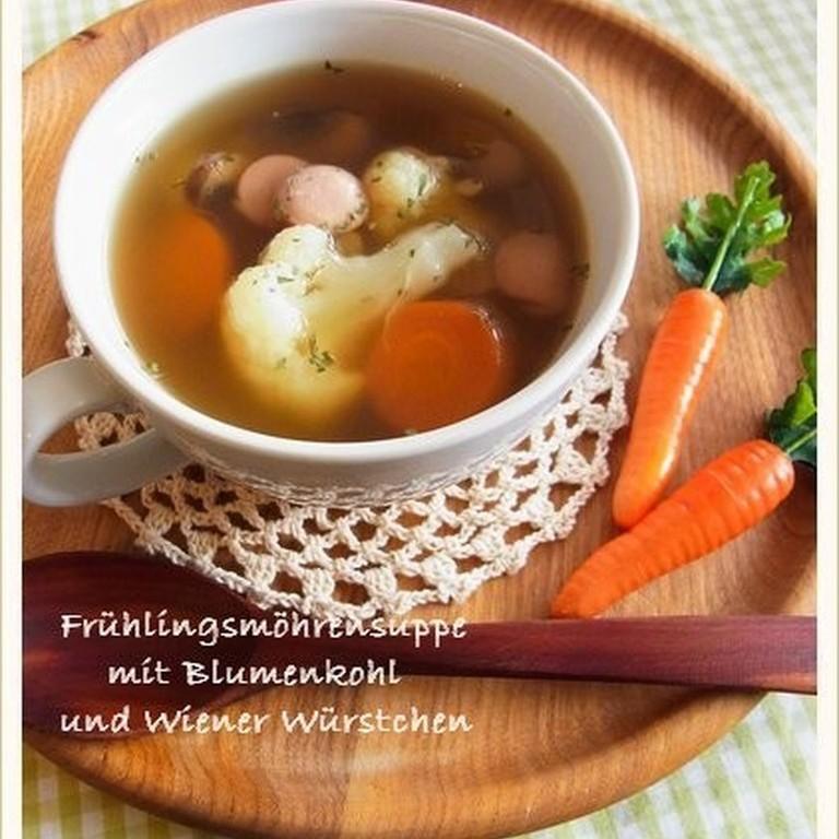 春にんじんとほくほくカリフラワーのスープ