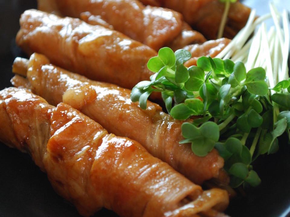 豚肉ごぼうロール焼き