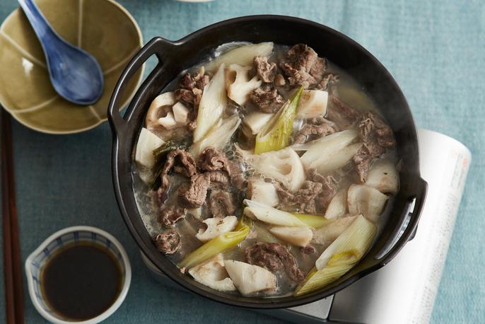 牛肉・れんこん・長ねぎの和風鍋