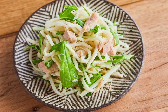 切り干し大根と水菜のツナサラダ